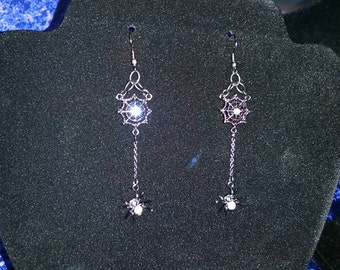 Spider and Web Dangle Earrings