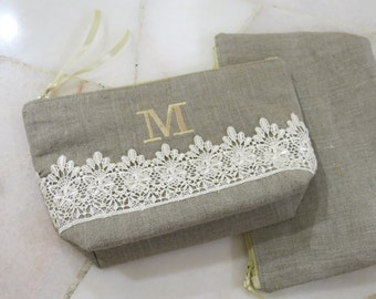 SALE! Personalized Monogrammed Bridesmaid Gift, Linen Clutch, Pouch, Purse, Cosmetic Pouch, Natural Rustic Linen, Eco Friendly Pouch