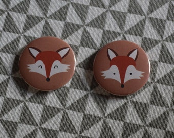 "2 loving magnets round 32 mm ""Foxes"" customizable fall forest gift"