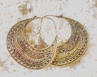 Etched tribal earrings, tribal earrings, boho earrings, brass earrings, gold earrings, gypsy esrrings, earrings, christmas earrings.
