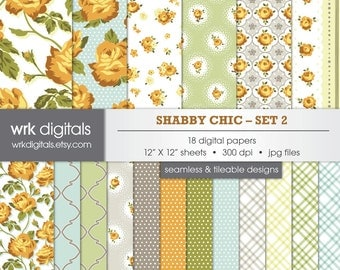 Shabby Chic Seamless Digital Paper Pack, Yellow and Gray, Digital Scrapbooking, Instant Download, Floral Roses