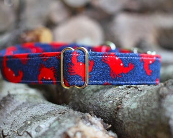 Crabby Collar | Dog Collar | Male Dog Collar | Summer Dog Collar | Pet Collar | Large Dog Collar | Small Dog Collar | Fabric Dog Collar