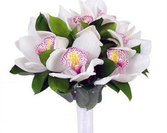 Orchid Bridal Bouquet, artificial flowers, wedding accessories, wedding bouquets, white orchids, purple wedding flowers