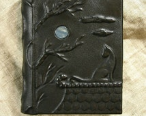Leather-bound journal Cat and the Moon