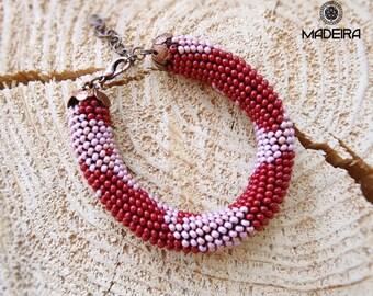 Bracelet harness beaded bohemian style, Cuff bracelet, bead bracelet, Wine red bracelet