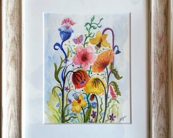 Colorful Floral Fusion Original Watercolor Painting Framed