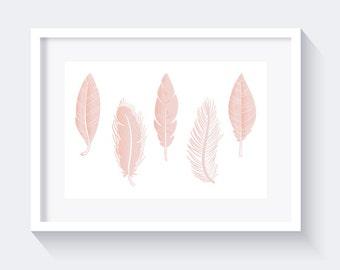 Light Pink Feathers Print, Nursery Print, Pink Print, Feathers Print, pastel pink print, instant download