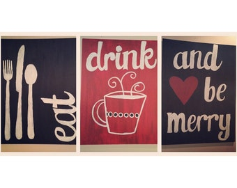 Eat drink and be merry canvas set