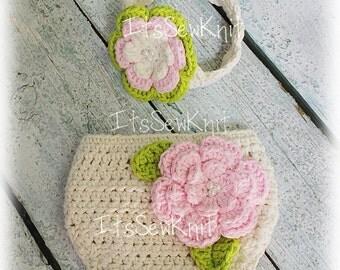 Cotton Diaper Cover and Headband Crochet Photo Prop
