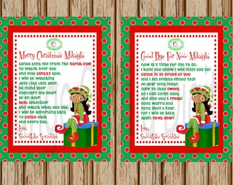 Girl Elf Hello Letter- Elf Goodbye Letter- Both Letters Included- Personalized Elf Letter- 8.5 x 11 size-Print Your Own-Digital Image