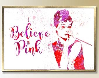 "Audrey Hepburn Breakfast at Tiffanys ""I Believe in Pink"" Quote Art Audrey Hepburn,Audrey Hepburn Poster Room Decor Audrey Hepburn Art, Wall"