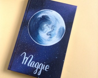 Moon journal with handpainted name