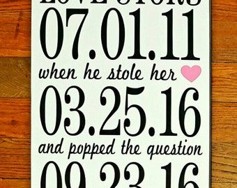 Love Story with Dates Wooden Wall Decor