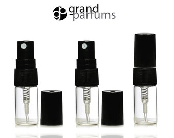 3 Clear Glass 3ml Fine Mist Atomizer Bottles 3 ml w/ Black Spray Mister Caps Perfume Cologne Travel Size Sample Packaging Bulk Wholesale
