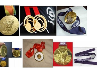 6 'Gold' Olympic/Commonwealth/Soccer Sports Medals
