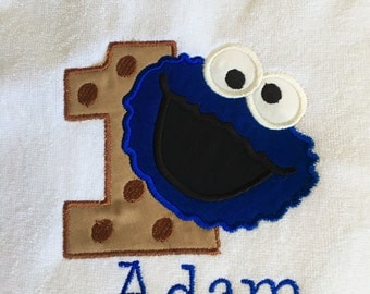 Cookie Monster 1st Birthday Personalized Bib