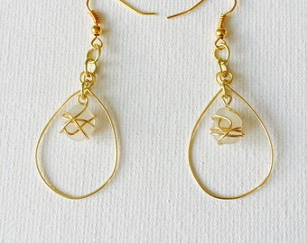 Hawaii White Sea Glass Gold Wire Wrapped Hoop Earrings