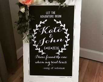 Chalkboard Easel - Welcome Wedding Chalk Board Sign // Wedding Chalk Board Easel // Let The Adventure Begin