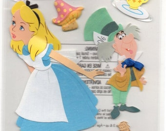 Disney 3 Dimensional Stickers with Foil Gem and Varnish Accents - Alice in Wonderland #51-50039