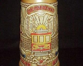 Beer Stein BUDWEISER Stein 1983 CS59 SAN FRANCISCO Cable Cars Golden Gate Bridge