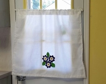 Cafe Curtains, Kitchen Curtains, Floral Crochet Cafe Curtains, Cafe Curtain,  Crochet Curtains, White cafe curtains