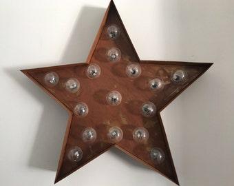 """13"""" Rusty Steel Marquee Carnival Light - Star"""