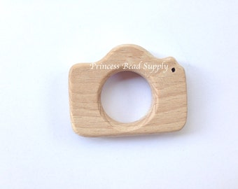 Camera Natural Wood Teether, Natural Wooden Camera Teether,  Natural Unfinished Wood Teether, Natural Wooden Teether