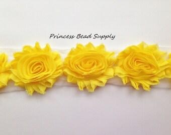 Yellow Shabby Flowers by the Yard, Shabby Chic Chiffon Flowers, Shabby Flower Trim,  Shabby Rose Trim, Headband Supplies, Headband Flower,