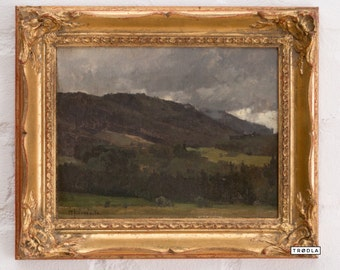 Karl Heinisch (also known as Carl Adam Heinisch, 1847 - 1923) Mountain in a Storm Original Oil Painting Signed by the Artist