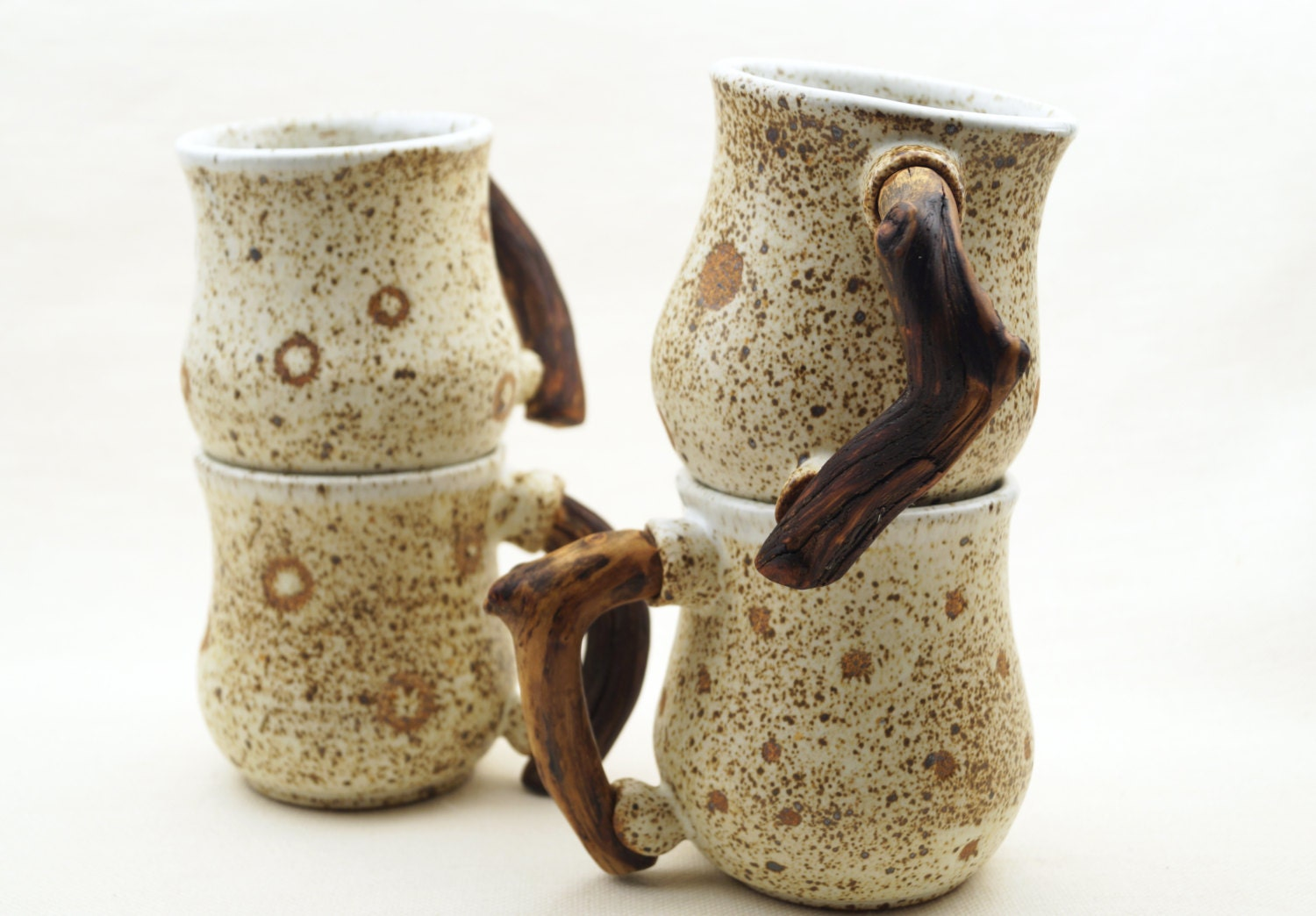 Handmade Ceramic Set Of Mugs With Wooden Twig Handles Unique