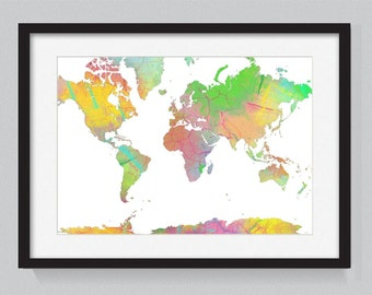 Map of the world designed from watercolors 8 - World Map Series