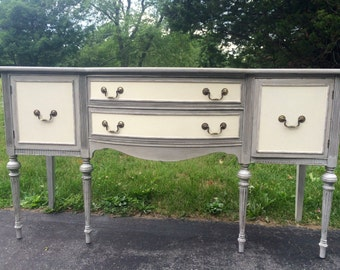 Vintage Sideboard - Gray and Antique White