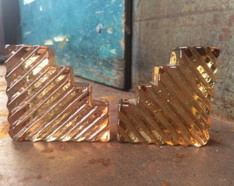 Handmade Vintage Gold Glass Pieces - Mismatched Pair