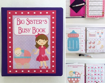 Big Sister Busy Book, quiet book, dry erase Velcro activity book, toddler, ages 2-3, big sister gift, personalized, custom made, quiet time