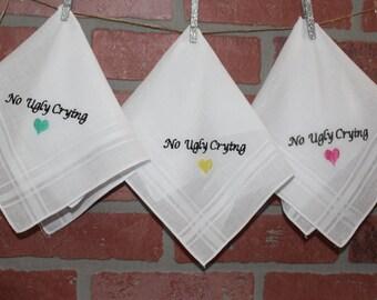 No Ugly Crying Wedding Handkerchief