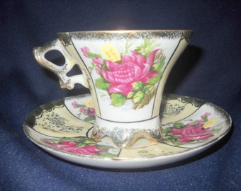 Fine Porcelain Tea Cup and Saucer, Floral Pattern, Victorian, Collectible