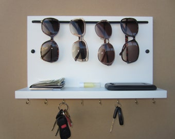 Sunglass Rack, Sunglass Organizer, Key Holder, Shelf,  Sunglass Sling,  White