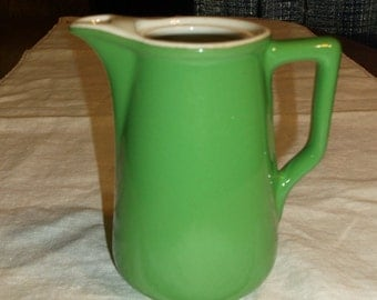 Vintage Hall Green and White Ceramic Pitcher