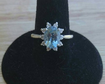 9x7mm Oval Natural Aquamarine and White Topaz Sterling Silver Ring Made to Order