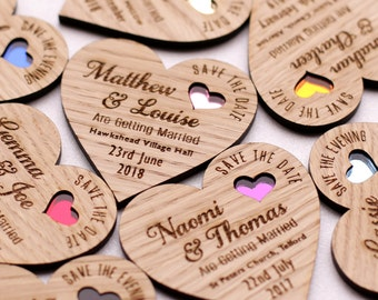 Save the date magnet, Wood save the date, Rustic Wooden save the date, Save the date heart, Coloured heart save the date, Wedding magnet