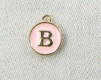 """Pink and Gold Enamel Letter """"B"""" Charm, 1 or 5 letters per package  ALF003b-P"""