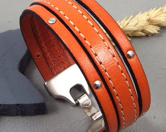 Kit tutorial leather cuff strap orange sewing and nails silver plated clasp