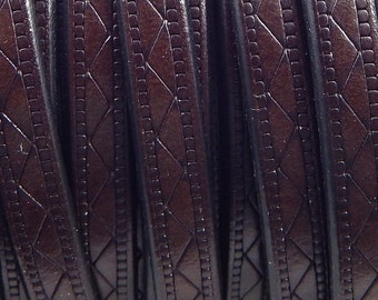 Dark brown flat leather 8mm etched design by 20 cm