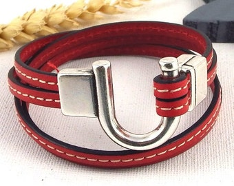 double Kit red couture leather strap with clasp silver plated happiness