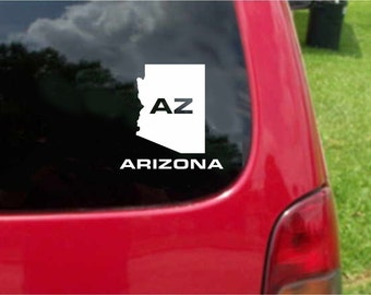 2 Pieces Arizona AZ  State USA Outline Map Stickers Decals 20 Colors To Choose From.  U.S.A Free Shipping