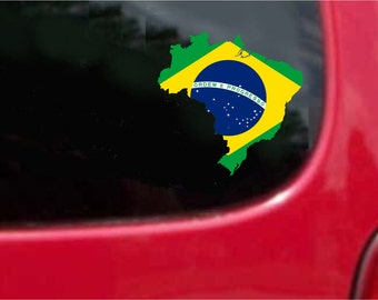 2 Pieces Brazil Outline Map Flag Vinyl Decals Stickers Full Color/Weather Proof. U.S.A Free Shipping