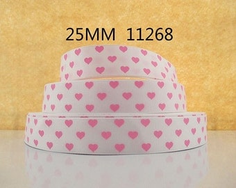 1 inch Pink Hearts on White Love 11268 VALENTINE'S DAY Printed Grosgrain Ribbon for Hair Bow