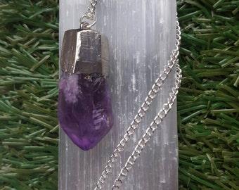 Amethyst Crystal Necklace Amethyst Crystal Point Necklace Amethyst necklace