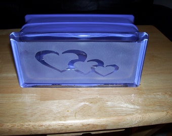 three hearts glass block