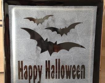 Halloween decorative glass block